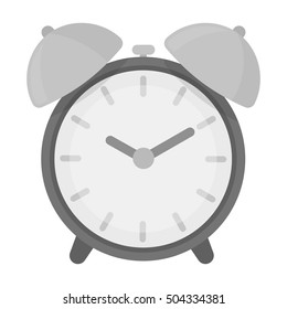Alarm clock icon in monochrome style isolated on white background. Hotel symbol stock vector illustration.