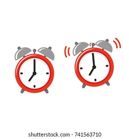 Alarm clock icon set, standing and ringing. Retro style cartoon clock illustration, simple vector clip art.