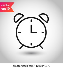 Alarm clock icon. Time vector sign. Clock flat symbol