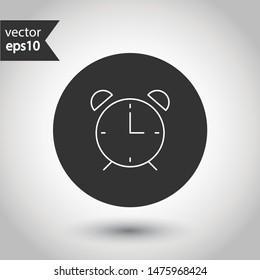 Alarm clock icon. Time vector sign. Clock flat symbol. Round icon design