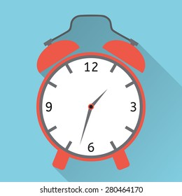 Alarm clock icon , Vector illustration flat design with long shadow