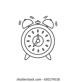 Alarm, clock isolated on white background. Vector illustration, flat style.