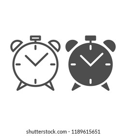 Alarm clock line and glyph icon. Wake up time vector illustration isolated on white. Watch outline style design, designed for web and app. Eps 10