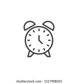 Alarm clock line icon. linear style sign for mobile concept and web design. Clock time outline vector icon. Symbol, logo illustration. Vector graphics