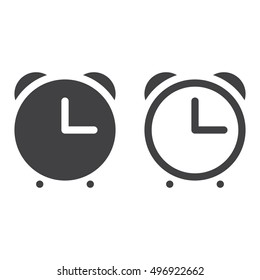 Alarm clock line icon, outline and filled vector sign, linear and full pictogram isolated on white, logo illustration