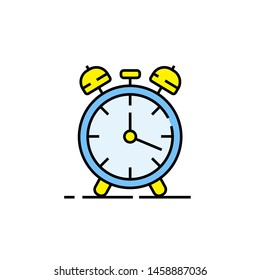 Alarm clock line icon. Wake up time symbol. Timer sign. Vector illustration.