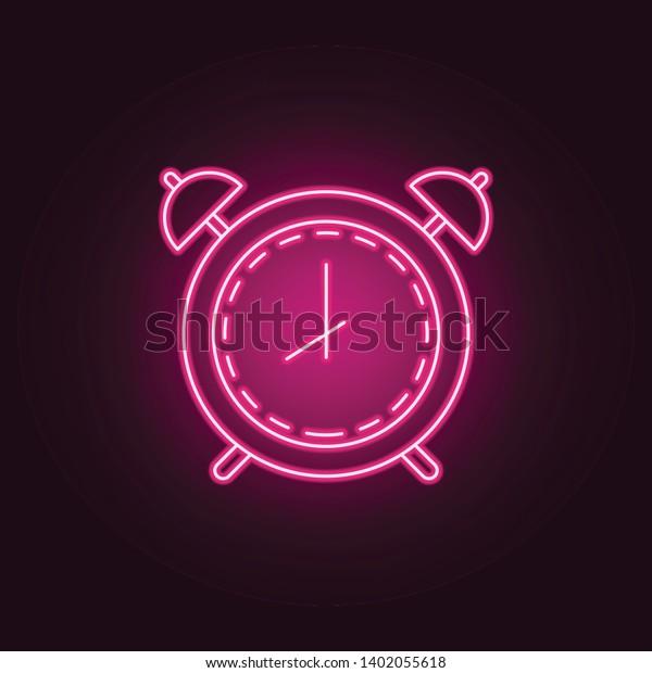 Alarm Clock Neon Icon Elements Measure Stock Vector (Royalty Free
