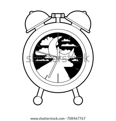 Alarm Clock Night Moon Landscape Inside Stock Vector Royalty Free