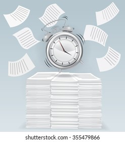 Alarm clock on pile of papers, business concept, vector