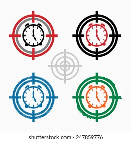 Alarm clock on target icons background. Crosshair icon. Vector illustration.