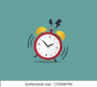 Alarm clock red icon with shadow isolated on blue background in flat style. Vector illustration