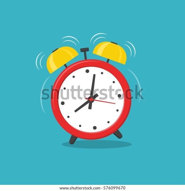 フラットスタイルの背景にアラーム時計の赤い起床時間。ベクターイラスト