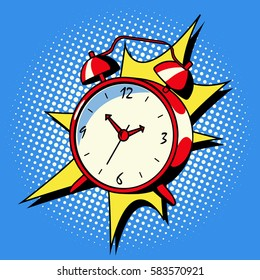 Alarm clock ring comic book pop art retro style vector illustration