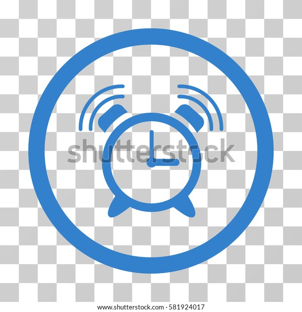 Alarm Clock Ring vector pictogram. Illustration style is a flat iconic cobalt symbol on a transparent background.