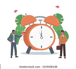 The alarm clock is ringing on a white background, the concept of working time management, quick response to awakening, transfer of time back. Vector illustration