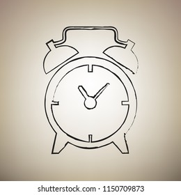 Alarm clock sign. Vector. Brush drawed black icon at light brown background.