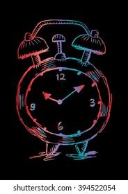 Alarm Clock. Sketchy style illustration.