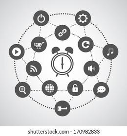 alarm clock and technology symbol set in circle diagram