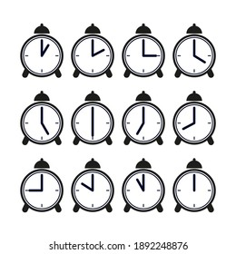 Alarm clock with the time from 01 o'clock to 12 o'clock. Set.  Vector isolated on a white background.