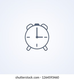 Alarm clock, vector best gray line icon on white background , EPS 10