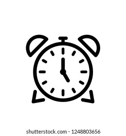 Alarm clock vector icon isolated on white background  simple line outline style  alarm clock ringing icon modern design