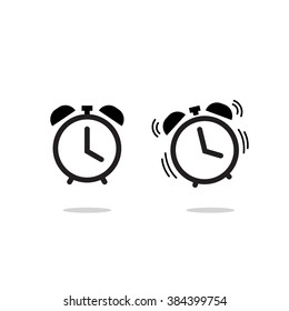 Alarm clock vector icon isolated on white background, simple line outline style, alarm clock ringing icon modern design