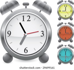 alarm clock vector icon set different times colors