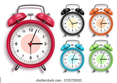 Alarm clock vector set. 3D realistic analog alarm clocks in various colors with glossy looks in front view for design elements. Vector illustration.