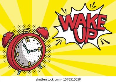 alarm clock wake up pop art style vector illustration design