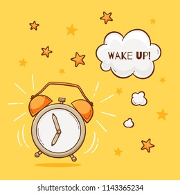 Alarm clock with wake up sign, vector illustration