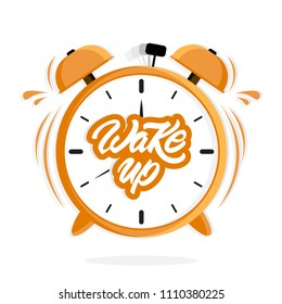 Alarm clock with Wake up text in lettering style. Ringing clock. Vector illustration design.
