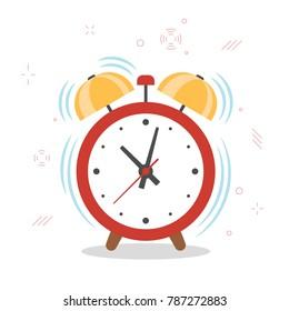 Alarm clock, wake up time. Vector cartoon flat style illustration isolated on white.