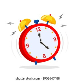 Alarm clock, wake-up time in school and at work. Flat icon in cartoon style. vector illustration