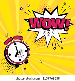 Alarm clock with white comic bubble with WOW word on yellow background. Comic sound effects in pop art style. Vector illustration.