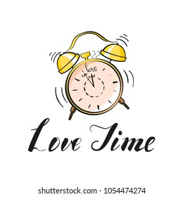 Alarm clock yellow wake-up time isolated on background cartoon style. Vector illustration. Color and linear versions. Love time lettering