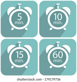 Alarm clocks timers on a blue background