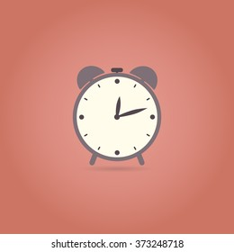Alarm flat design icon. Retro style. Vector illustration.