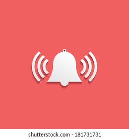 alarm, flat icon isolated on a red background for your design, vector illustration