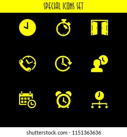 alarm icon. 9 alarm set with time, clock, calendar with a clock time tools and stopwatch, alarm vector icons for web and mobile app
