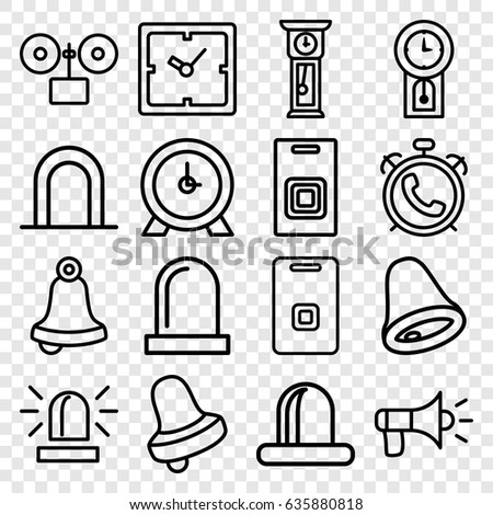 Alarm Icons Set Set 16 Alarm Stock Vector Royalty Free 635880818