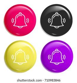 Alarm multi color glossy badge icon set. Realistic shiny badge icon or logo mockup