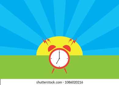 Alarm oclock in front of cartoon sunny day. Ringing oclock on spring or summer landscape. Funny wake up. Design  for childrens book.