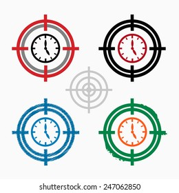 Alarm on target icons background. Crosshair icon. Vector illustration.