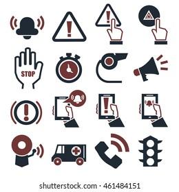 alarm, panic icon set