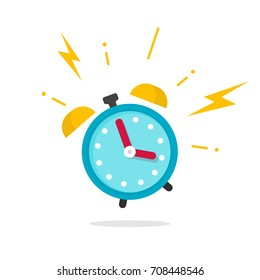 Alarm ringing icon vector illustration, flat cartoon alarm clock bells sound isolated on white