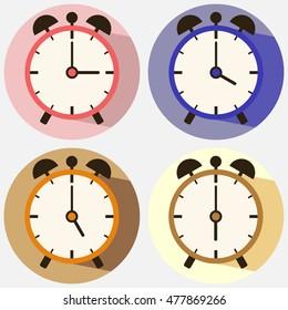 Alarm, set alarm clocks, clock, time, minute, second hand. Flat design, vector.