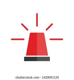 Alarm siren icon. Emergency light alert. Red symbol attention. EPS 10