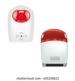 Alarm system. Sensor fire safety and building security. Vector illustration.