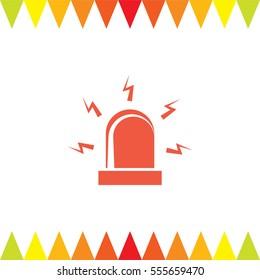 Alarm vector icon. Siren alarm symbol. Alert flashing light sign.