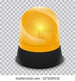 Alarm yellow flasher icon. Realistic illustration of alarm yellow flasher vector icon for web design